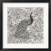 Peacock Garden III BW Framed Print