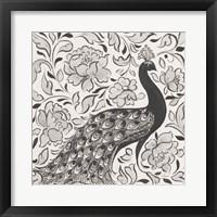 Peacock Garden IV BW Framed Print