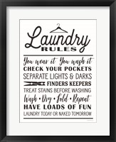Framed Laundry Rules