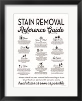 Framed Stain Removal Reference Guide