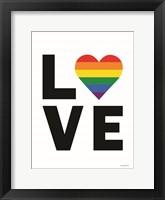 Framed Rainbow Love Heart