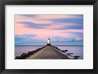 Framed Ludington North Breakwater Light Sunrise