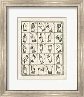 Framed Vintage Sign Language Alphabet