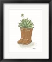 Garden Boots Cactus Framed Print