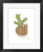 Snail Planter Cactus Framed Print