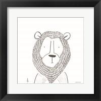Lion Line Drawing 1 Framed Print