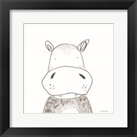 Hippo Line Drawing Framed Print