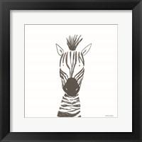 Zebra Line Drawing Framed Print