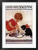Framed Good Housekeeping Milk And Kitten
