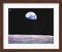 Framed Earthrise Over the Moon