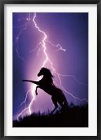 Framed Lightning And Silhouette Of Horse