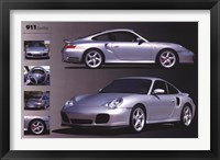 Framed Porche 911 Turbo Silver