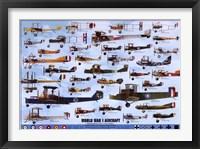 Framed World War I Aircraft - blue