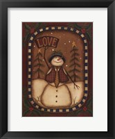 Framed Love Snowman