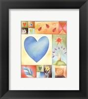 Framed Big Blue Heart