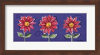 Framed 3 Pink Daisies