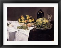 Framed Still Life with Melons and Peaches