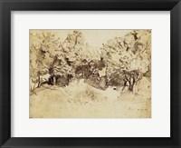 Framed Sepia Corot Landscape