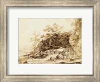 Framed Sepia Landscape with Horses