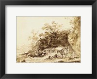 Framed Sepia Landscape with Horses