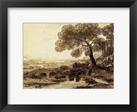 Framed Sepia Landscape with Bridge