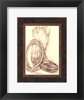 Framed Sepia Boots II (HI)