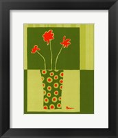 Framed Minimalist Flowers in Green I