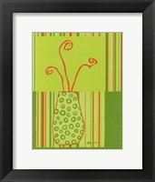Framed Minimalist Flowers in Green II