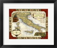 Framed Medium Wine Map (H) I