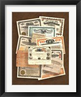 Framed Stock Certificate Collection