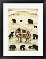 Framed Indian Elephant Gathering