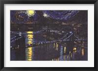 Framed Starry Night over Brooklyn Bridge