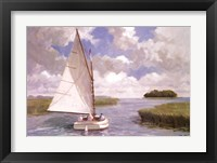 Framed Catboat Through the Marsh