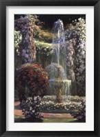 Framed Jardin Fleuri au Jet d'Eau