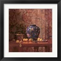 Framed Oriental Vase with Crab Apples