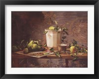 Framed Pears and Tapestry