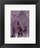Framed Firemen Raising the Flag at World Trade Center
