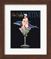 Framed Blue Dolphin Martini