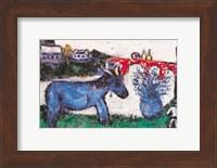 Framed Blue Donkey