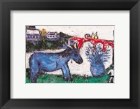 Framed Blue Donkey