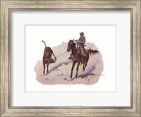 Framed Cowboy Leading Calf