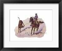 Cowboy Leading Calf Framed Print