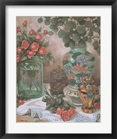 Framed Roses with Bird Cage