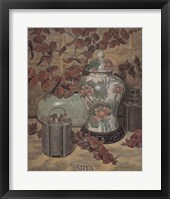 Eucalyptus with Lotus Vase Framed Print