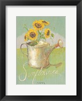 Framed Watering Can with Sunflowers