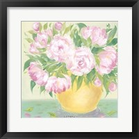 Yellow Vase Peonies I Framed Print