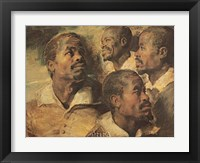 Framed Four Negro Heads