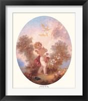 Framed Cupid Between Roses