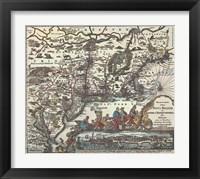 Framed Map of North Eastern America