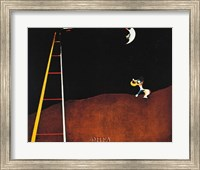 Framed Dog Barking at the Moon